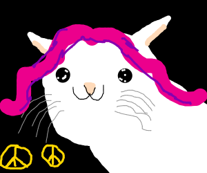 Smiling pink haired cat girl  2 peace signs