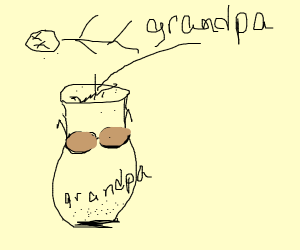 Grandpa's urn, with glasses