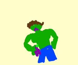 The Hulk eating purple berries.