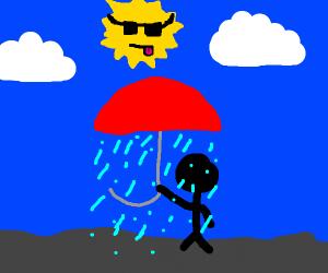 Umbrella rains on man