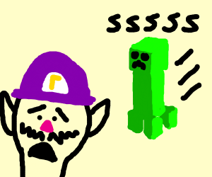 Oh frick, it's a creeper, lookout waluigi