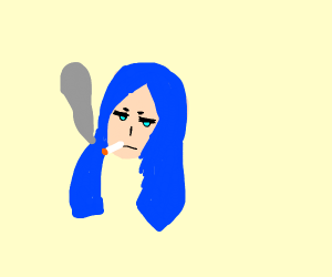 Blue Haired Girl Smokes