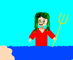 Green haired anime girl in the sea