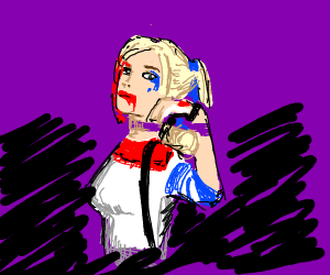 Harley Quinn has blood on her mouth