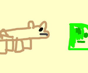 a bear looking at a green blob of slime