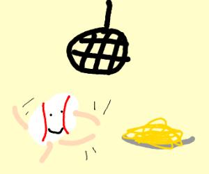Baseball man dances and smiles tword spaghet