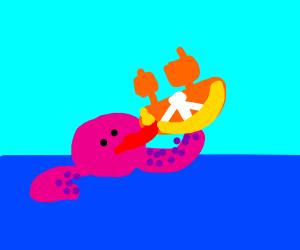 octopus licking nutritious ship