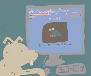 A dog playing Drawception