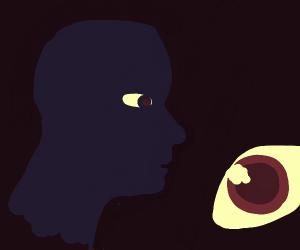 Black man with blue eyes close-up of eyeball