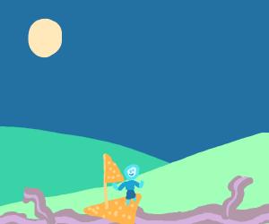 A Dorito ship riding across a bacon river