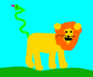 lion with a snake as a tail?