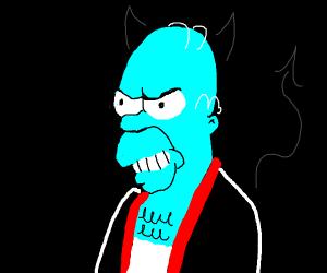 Blue evil Homer Simpson