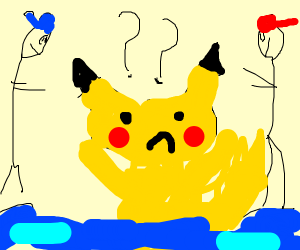 Confused Pikachu on the ocean, and 2 trainers