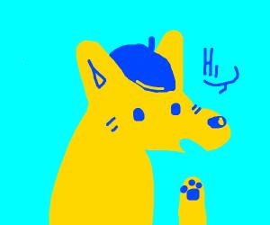 Yellow dog wearing a baret says hi