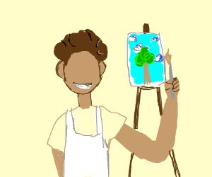Bob ross painting a tree