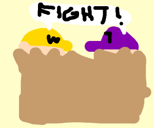 Waluigi and Wario in a big fight