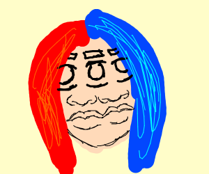 two faced woman blue/red hair