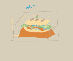 Beautiful blcsandwich in glass caseonpillow