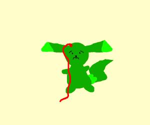 Green Pikachu bleeding from his head
