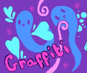 Graffiti-styled purple/blue amalgamation