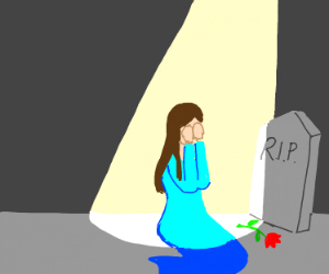 Girl Crying at Grave Under StreetLamp.