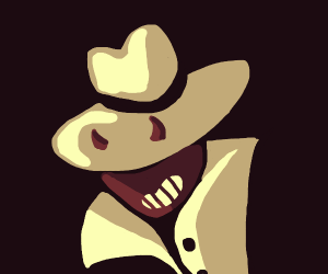 Devil wearing a big hat