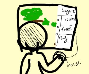 Tree layers drawn on trackpad