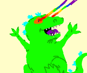 Reptar shooting rainbow lasers out of his eye