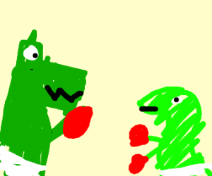 bby rex vs giant tricera-raptor