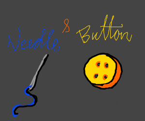 a needle and a button