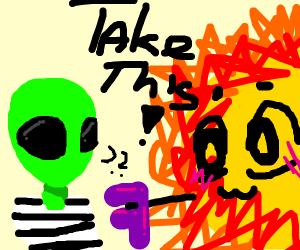 Sun giving an F to a green alien