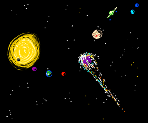 meteor zooming through solar system