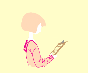 Pink haired anime girl writing on clipboard