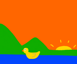 Duck on a lake at sunset