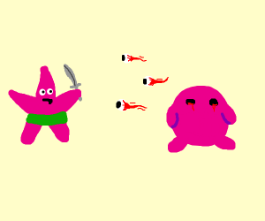 Patrick star fighting three Eyes from Kirby