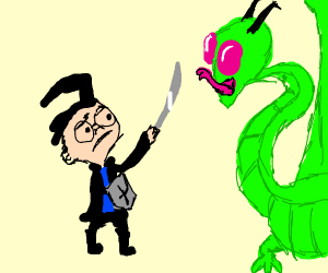 Guy from Invader Zim fights Zim as a dragon?