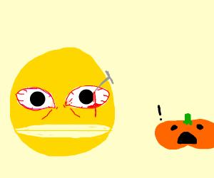 Pacman has a nail in his eye, pumpkin screams