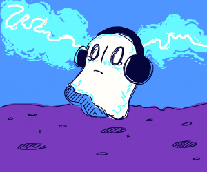 Chilling on the ground with Napstablook