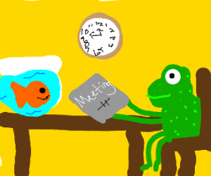 an orange fish and a frog hold a meeting