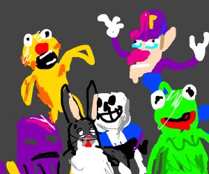 Yellmo Waluigi Sans Thanos Kermit And Chungus Drawception