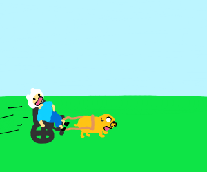 finn in a wheelchair dragged by jake the dog