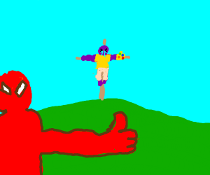 spiderman kills thanos with a crusifix