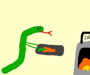 Cobra baking a Vegetable