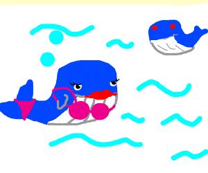 whale seeing a hot whale in bikini