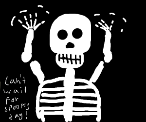 Skeleton with FUN hands anticipates halloween