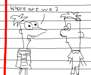 Phineas and herb turn into sketches