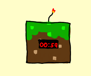Grass block with a. Bomb