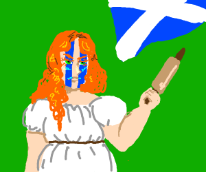 Scottish woman w/ face paint & rolling pin
