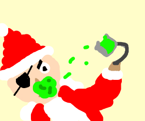 Pirate Santa with slime on his face