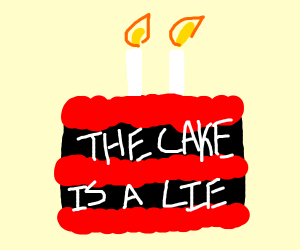 fake cake the cake is a lie black w cherry